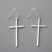 STERLING SILVER CROSS EARRINGS DANGLE WHITE GOLD CROSS JEWELRY EARRING by Kellinsilver.com - Sterling Silver Jewelry Shop as ETSY