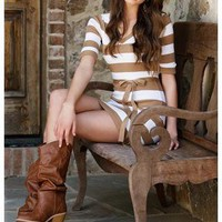 TAN AND IVORY BELTED SWEATER DRESS
