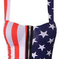 Womens Ladies Crop Zip Front Animal American Flag Print Padded Bra Bralet Top