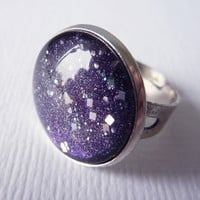 Night Sky Ring. Starry Night, Adjustable Glitter Ring