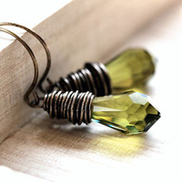 Olive Green Crystal Briolette Antiqued Brass by GlitzGlitter