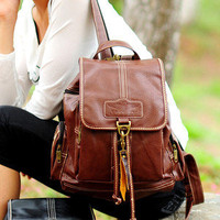 NEW Woman's Coffee PU Leather Backpacks Adjustable Strap Fashion Book Bags FP84