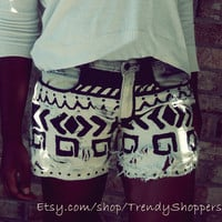 Distressed Ombre Bleached Tribal Shorts (Aztec Print Shorts)