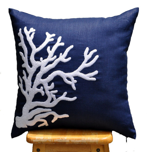 Throw Pillows Nordstrom : Coral Throw Pillow Cover, White Nautical from KainKain Home