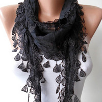 Christmas Gift - Handmade Cotton Scarf- Black Scarf with Black Trim Edge - Lightweight and Cotton Fabric