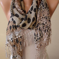 Elegant and Leopard Scarf - Gift - Beige and Brown - Silk - Chiffon with Beige Trim Edge