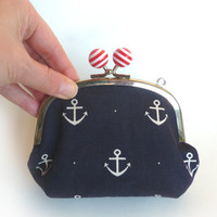 Navy Blue and White Nautical Anchors Fabric Coin Purse Handbag with Red and White Polka Dot Cotton Lining and Detachable Chain Handle