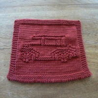 Hand Knit Dark Red Antique Car Dishcloth or Washcloth