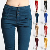 MOGAN Colored HIGH WAISTED Power SKINNY JEANS Yoke Stretch Stylish Denim Pants