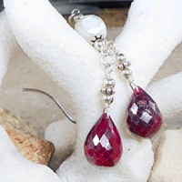Ruby CFW Pearl Sterling Silver Wire Wrapped Artisan Earrings