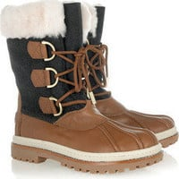 Tory Burch|Duck leather and shearling boots|NET-A-PORTER.COM