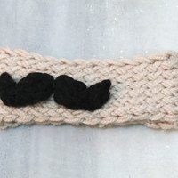 Movember Knotted Headband Mustache Ear Warmer Vanilla Black. Winter Warm. Head Dress, Winter Fashion, Hair Bands Hair Coverings for Women