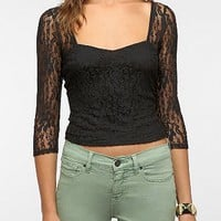 Pins and Needles Lace Sweetheart Cropped Top
