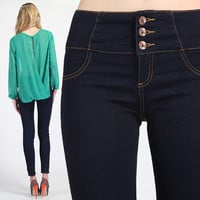 MOGAN Washed HIGH WAISTED Power SKINNY JEANS Stretch Stylish Denim Pants Jegging
