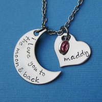 I Love You to the Moon and Back Necklace Heart Name and Birthstone Custom Moon and Back - Custom Mommy Necklace Mother's Day Gift
