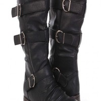 Black Faux Leather Buckle Strappy Mid Calf Boots @ Amiclubwear Boots Catalog:women's winter boots,leather thigh high boots,black platform knee high boots,over the knee boots,Go Go boots,cowgirl boots,gladiator boots,womens dress boots,skirt boots,pink boo