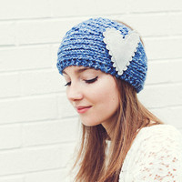 Knitted Headband in Blue with light gray felt heart pin READY TO SHIP