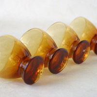 MId Century Modern Amber Cordial Aperitif Glasses Vintage Barware