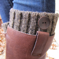Boot Cuff-Full boot Sock sock Included- Topper-Boot Sock-Brown Wool with wooden button-Full sock included