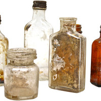 Antique Bottle Collection Amber Rustic Primitive