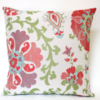 Christmas Pillow Cover with Muted Red Flowers and Green Vines