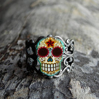 Day of the Dead Filigree Sugar Skull Ring in an Antiqued Silver Finish
