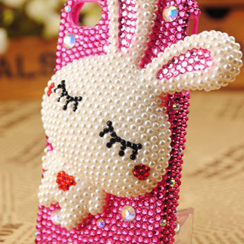iPhone4 Rabbit Crystals Handmade Protective Shell Cover - gulleitrustmart.com