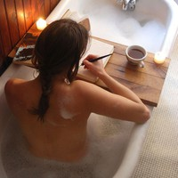 Tub Caddy Reclaimed Oak cozy autumn/winter bath by PegandAwl