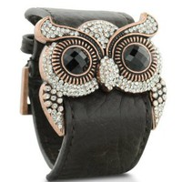 Leather and Crystal Owl Cuff Bracelet: Jewelry: Amazon.com