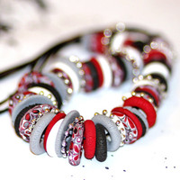 Red, black and white Necklace of Fimo