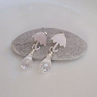 Tiny Silver Plated Umbrella Earrings with by Lylaaccessories