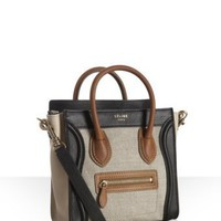 Celine natural canvas leather detail 'Nano Luggage' mini crossbody tote