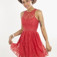 Stylestalker Love Me Do Lace Up Holiday Dress in Red | MessesOfDresses.com