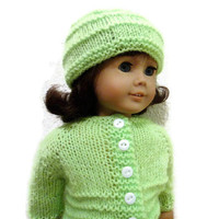 American Girl Doll Sweater Hat Lime Green Knit