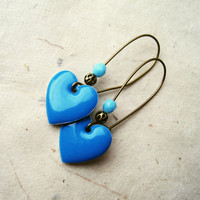 Sky Blue Earrings Heart Earrings, Enamel Earrings, Heart Charm Earrings on Long Brass Kidney Ear Wires. Bright Blue Jewelry.