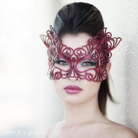 Rococo  lacy mask in red leather by TomBanwell on Etsy