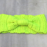 Knitted a Headband Knitted Turband Ear Warmer in Neon Green. Ear Warmer, Head Dress, Winter Fashion, Hair Bands Hair Coverings for Women