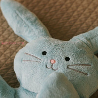 "Plush Bunny Rabbit Blue Softie ""Flat Little Bunny Rabbit"""