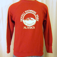 Vintage Super Soft 80s DENALI ALASKA GRAPHIC National Park Outdoors Nature Unisex Small Medium 50/50 Crewneck Sweatshirt