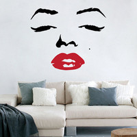 Marilyn Monroe Face with Red Lips Decal Vinyl Art by Stickitthere