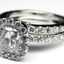 Engagement Ring - Radiant Diamond Vintage Crown Engagement Ring & Matching Wedding Band 0.80 tcw in 14K White Gold. - ES373RABS