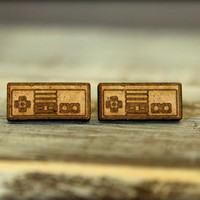 Video Game Controller Studs, Laser Cut Wood Earrings