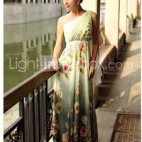 Sheath/ Column One Shoulder Floor-length Chiffon Elastic Silk-like Satin Evening/ Prom Dress - US$ 179.99