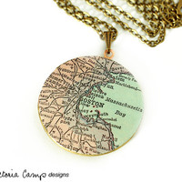 Boston Antique Map Necklace on Large Vintage Locket, Brass Chain, Round Locket, Map Necklace, Map Jewelry, Massachusetts