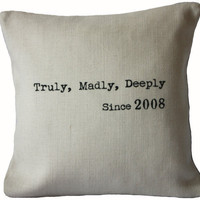 Truly Madly Deeply Pillow Cover by betsyjarvis on Etsy