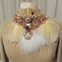 Steampunk feather collar bead rhinestone necklace or sash with vintage medallions, felt trim collar with lace strap
