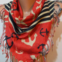 Elegant  Scarf  Marine Scarf   Red Scarf