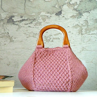Knitting Tote, women fashion Fall fashion color, knit purse, autumn fashion color powder pink - gifts idea autumn Bag
