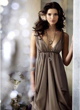 Empire V-neck Floor-Length Chiffon Charmeuse Bridesmaid Dresses With Ruffle Sash (007004327) - JJsHouse.com