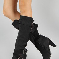 NB200-152 Round Toe Buckle Knee High Boot